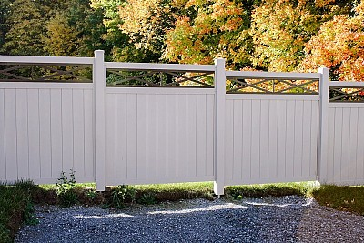 White, 2 Rail privacy Vinyl fence with Aluminum top