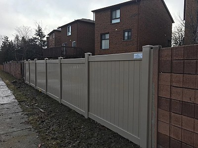 Tan colour 2 Rail 6'high privacy fence