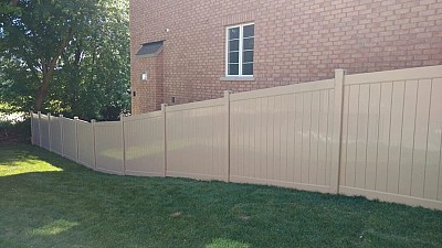Tan , 2 Rail full privacy fence