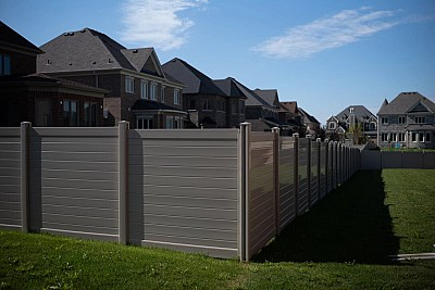 Tan, 6'high, full privacy,Horizontal Vinyl fence