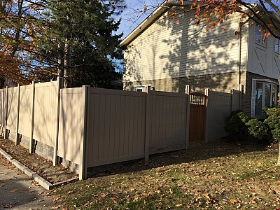 Tan, 2 Rail, privacy fence