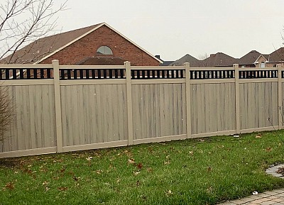 Hazelwood, privacy fence with Black vinyl picket top