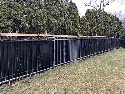 Black Aluminum with Black vinyl privacy fence