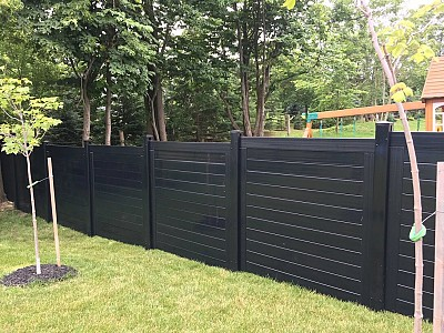 Dark Brown, 2 Rail 6' high Privacy fence