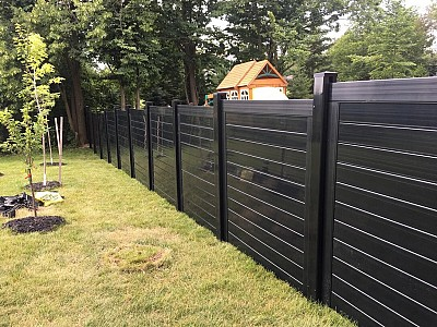 Black 6'high Horizontal privacy fence